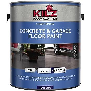 KILZ L377711 1-Part Epoxy Acrylic Interior/Exterior Concrete and Garage Floor Paint, Satin, Slate Gray, 1-Gallon, 1 Gallon, 4 l
