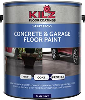 KILZ L377711 1-Part Epoxy Acrylic Interior/Exterior Concrete and Garage Floor Paint, Satin, Slate Gray, 1-Gallon, 1 Gallon, 4 l