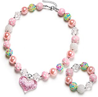 vcmart Girls Gilitter Heart Chunky Bubblegum Bead Necklace & Bracelet Set Fashion Jewelry Pendant with Gift Box