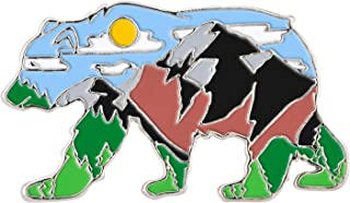 Avamie Mountain Landscape Day and Night Bear Enamel Lapel Pin