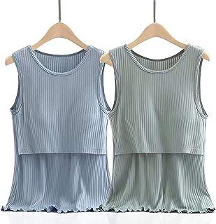LUlala マタニティ 授乳服 インナー 授乳タンクトップ 授乳服 2枚組 産前 産後 Tシャツ インナー 年中使える マタニティウェア 授乳Tシャツ 授乳口付き パジャマ ルームウェアセット(授乳口:横切れ)