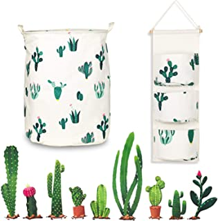 Cactus Decor Set (3pce) Laundry Basket, Hanging Storage Bag & Cactus Wall Decal - Waterproof, Collapsible, Matching Cactus Print Laundry Hamper & 3 Pocket Hanging Organizer – Ideal for Baby Cactus Nursery Decor, DIY Wall Stickers - Shiny Blue
