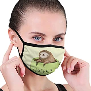 YongColer Mouth Mask Earloop Mouth Mask Soft Polyester Breathable Mask - Adorable Sloth and Coffee Adjustable Elastic Band Windproof Mouth-Muffle, Reusable & Washable for Camping