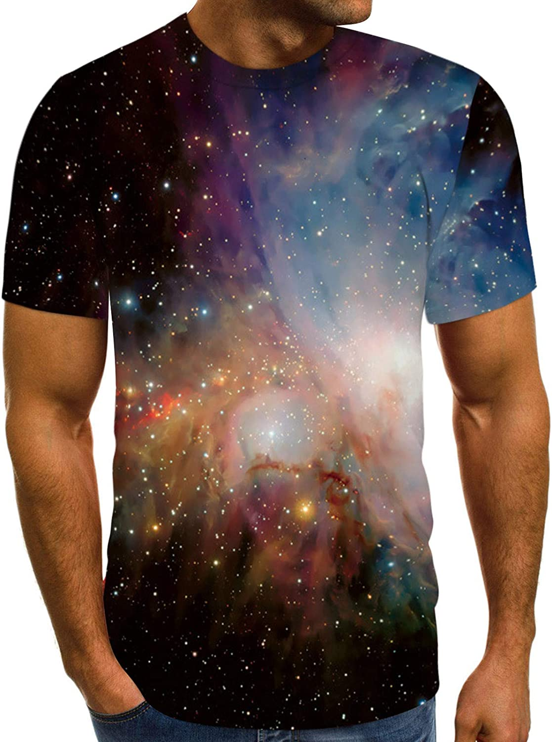 7789 Universe Gifts for Men Boys Short Sleeve Galaxy 3D T-Shirts Crew Neck Short Sleeve Tops Blouse