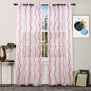 FY FIBER HOUSE Semi Sheer Voile Window Curtains for Living Room, 2 Panels,54 by 84-Inch,White/Pink Wave