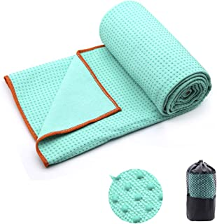 Yoga Towel,Hot Yoga Mat Towel with Corner Pockets Design - Sweat Absorbent Non-Slip for Hot Yoga,Bikram and Pilates