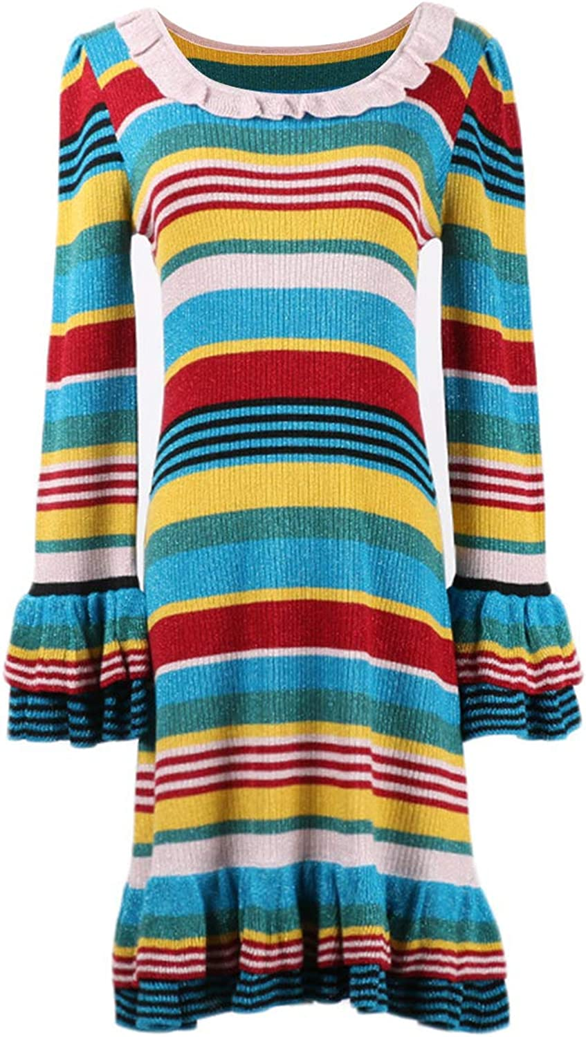 Wfaviudixma colorblock Stripe High Waist Midi Dress Flare Sleeve O Neck Knitted ALine Dress