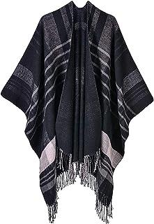 Chal Mujer Poncho Cárdigan Suéter Color de Contraste Estampado a Cuadros Capas de Cachemira Chal Bufanda Prendas de Abrigo...
