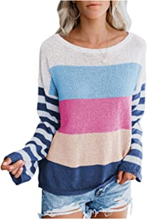 Pink Queen Women's Light Knit Sweaters Stripes Long Sleeve Color Block Boat Neck Pullover Tops