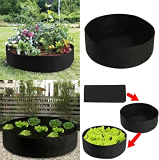 BJYXSZD Fabric Raised Garden Bed,Extra Large Fabric Raised Planting Bed,Round Breathable Planting Container Grow Bag Planter Pot for Carrot Onion Herb Flower Vegetable Plants (127x30cm)