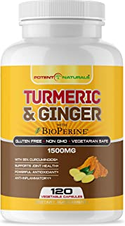 Turmeric Curcumin with Bioperine and Ginger 1500mg 120 Vegetable Capsules by POTENT NATURALS - Supports Joint Health, Anti...