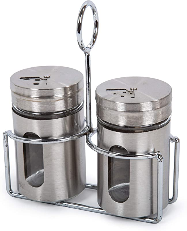 CTG 80973 Classic Stainless Steel Salt And Pepper Set Silver 2 X 3 5