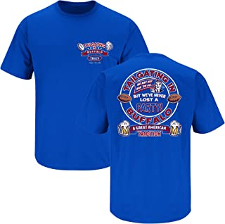 Smack Apparel Buffalo Football Fans. Tailgating in Buffalo. We've Never Lost A Party Blue T Shirt (Sm-5X)