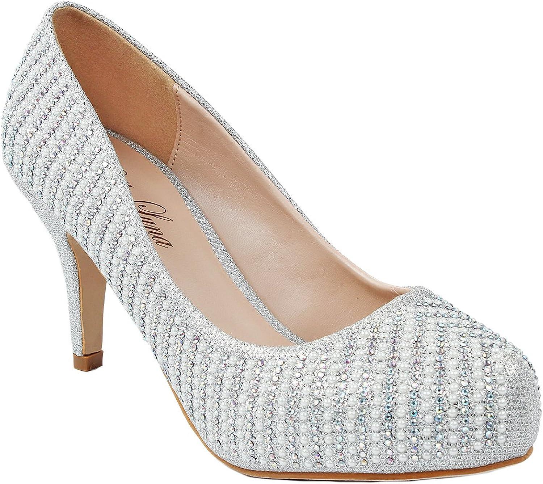JJF shoes Women Paola Silver Pearl Sparkle Crystal Rhinestone Glitter Evening Dress Pumps-5.5