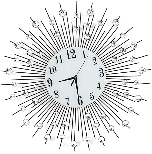 RANZHIX 3D Diamond Wall Clock Modern Classic Crystal Wall Clock Silent Non Ticking Metal Wall Clock For Living Room Office Bedroom Wall Art DIY Decor