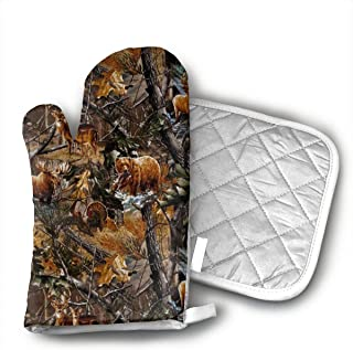Camo Hunting Deer Bear Moose Turkey Duck Oven Mitts and Pot Holders Set with Polyester Cotton Non-Slip Grip, Heat Resistant, Oven Gloves for BBQ Cooking Baking, Grilling