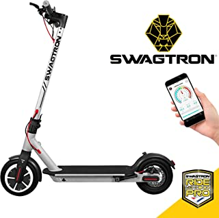 "Swagtron High Speed Electric Scooter with 8.5"" Cushioned Tires, Cruise Control and 1-Step Portable Folding – Swagger 5 (Silver)"