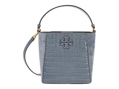 Tory Burch McGraw Embossed Small Bucket Bag (Bluestone) Handbags