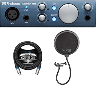 PreSonus AudioBox iOne USB Audio Interface for Windows, Mac, and iOS Bundle with Blucoil 10-FT Balanced XLR Cable, and Pop...
