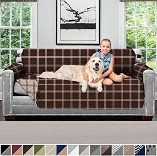 SOFA SHIELD Original Patent Pending Reversible Sofa Slipcover, 2 Inch Strap Hook, Seat Width Up to 70 Inch Furniture Protector, Couch Slip Cover Throw for Pets, Kids, Cats, Sofa, Plaid Chocolate Beige
