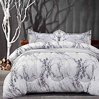 NANKO Comforter Set Queen Size, White Black Marble Print 88 x 90 inch Reversible Down Alternative Comforter Microfiber Duv...