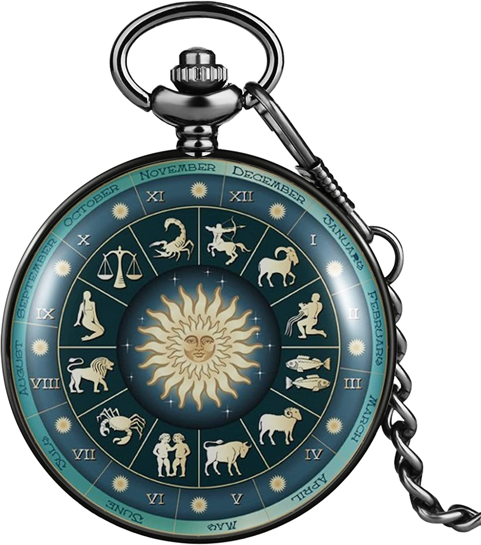 LWCOTTAGE Reloj De Bolsillo De Cuarzo - 12 Constelaciones Patrón De Astrología Cubierta Verde Delicado Reloj De Bolsillo De Cuarzo Reloj Colgante De Cadena Duradero Clásico para Hombres Y Mujeres