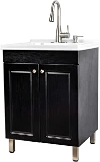 Utility Sink Laundry Tub With Cabinet In Black, High Arc Stainless Steel Faucet, Storage Vanity With Slow Closing Doors, Large Washtub for Cleaning and Washing, Sinks for Garage, Basement, Work Room