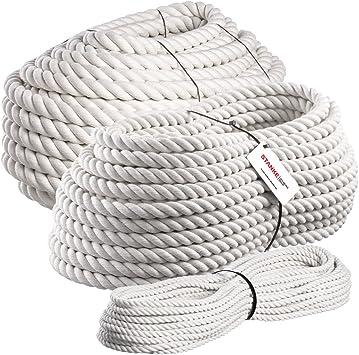 Seilwerk STANKE 50 m Cuerda de algod/ón 6 mm fibras naturales rizada aparejo