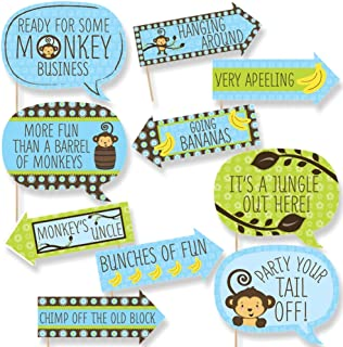 Funny Blue Monkey Boy - Baby Shower or Birthday Party Photo Booth Props Kit - 10 Piece