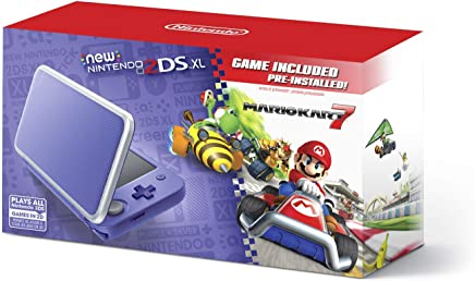 $144 Get New Nintendo 2DS XL - Purple + Silver With Mario Kart 7 Pre-installed - Nintendo 2DS (Renewed)
