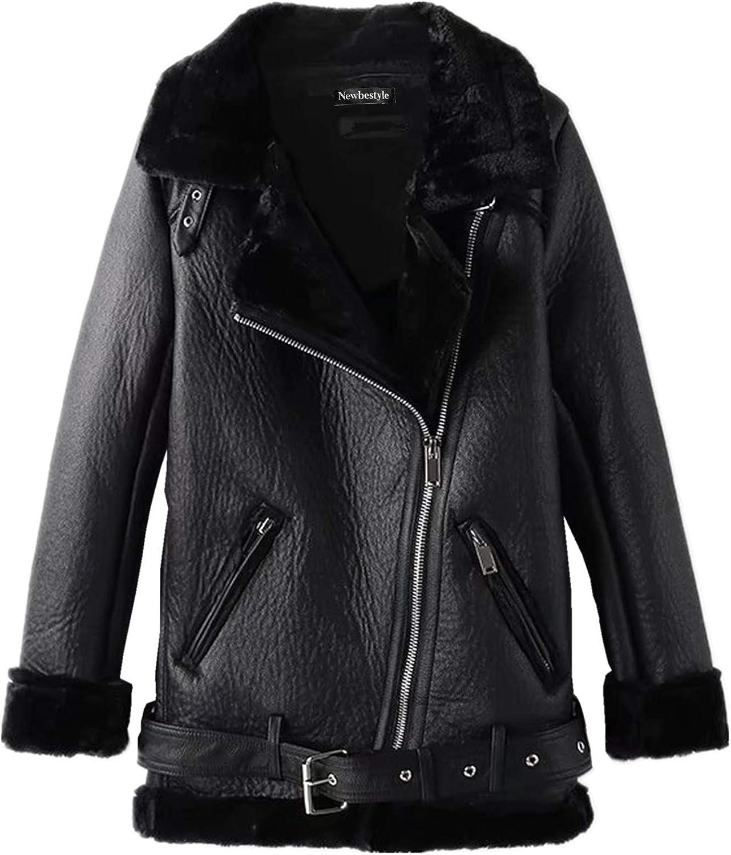 Newbestyle Womens Faux Leather Moto Jacket Warm Fleece Lined Oversized Biker Jacket Coat