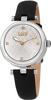 ساعة للنساء من بورغي بعلامات مرصعة بالالماس ومينا بلون فضي بنمط معينات وسوار جلدي بلون اسود، طراز BUR196SSB