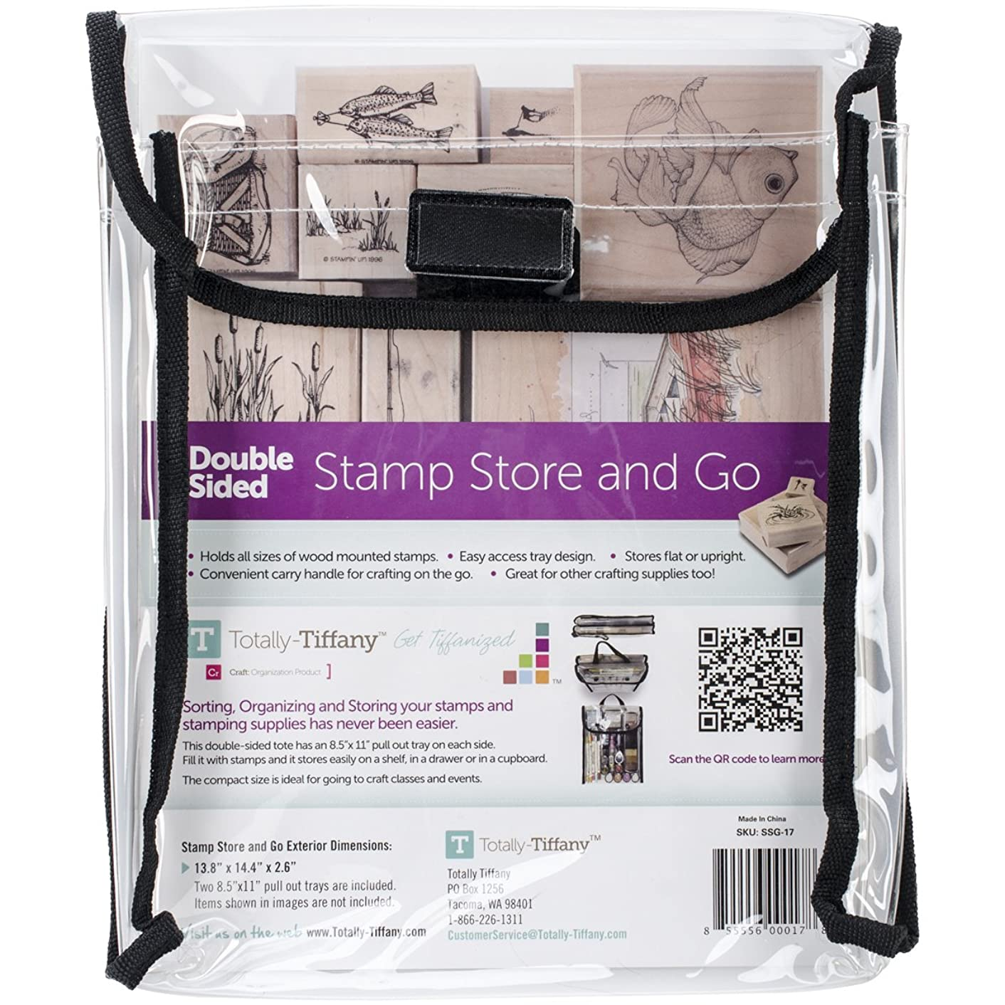 Totally-Tiffany Stamp, Store and Go Bag Double-Sided, 9 x 11.5 x 2-Inch
