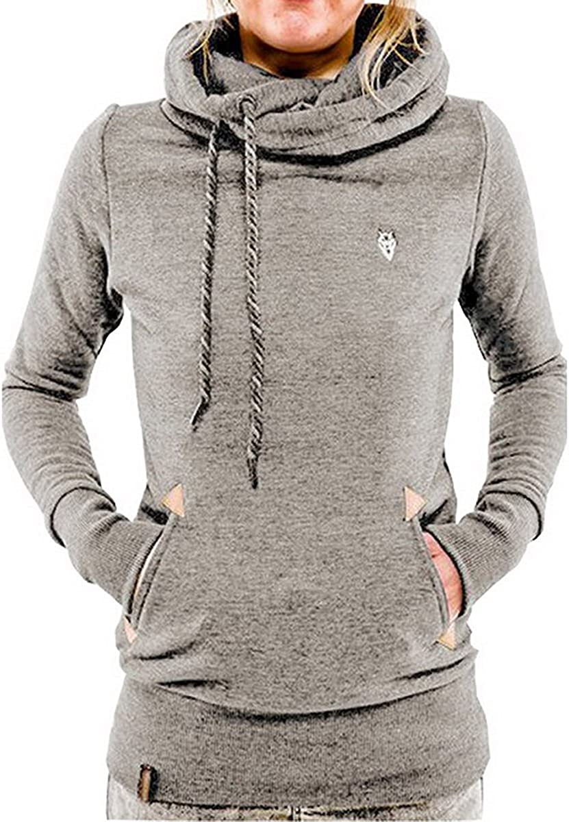 ShallGood Femme Printemps Automne Hiver D/écontract/é Sweats /à Capuche Hoodies Pullover Sweat-shirt Manches Longues Vestes Sweatshirts Zipp/é Oblique Manteau Jumper Tops
