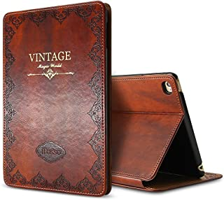 iPad Mini 4 Vintage Brown BOOK Type Leather Case Flip Cover, Miniko(TM) Modern Slim Book Style Case for iPad Mini 4 Premium PU Leather Smart Case Auto Sleep Wake Slim Fit Multi Angle Stand
