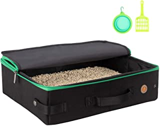 petisfam Portable Cat Travel Litter Box for Medium Cats and Kitty with 1 Collapsible Bowl and 1 Litter Scoop