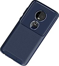Case Compatible with Motorola G7 G7 Play Phone Case Carbon Fiber Ultra Slim TPU Silicone Bumper Anti-Fingerprint Shockproof Full Protective Cover for Moto G7 Power (Blue, Motorola G7 Power)