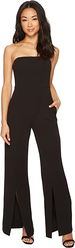 Strapless Crepe Jumpsuit with Front Leg Split Detail