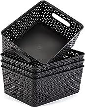 "Eslite Plastic Storage Baskets,11.4X8.9X4.7"",Pack of 4 (Black)"