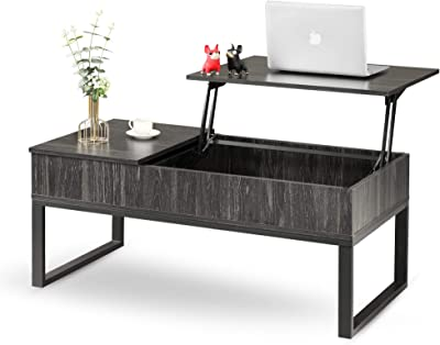 WLIVE Wood Lift Top Coffee Table with Hidden Storage Compartment, Side Drawer and Metal Frame, Lift Tabletop Table for Home, Living Room, Office