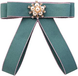 Pulabo College - Broche de tela con diseño de pajarita y perlas