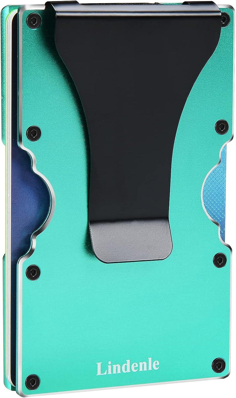 Lindenle Minimalist Wallet Small Card Holder Slim Front Pocket Wallet RFID Blocking Money Clip Women Men (Green)