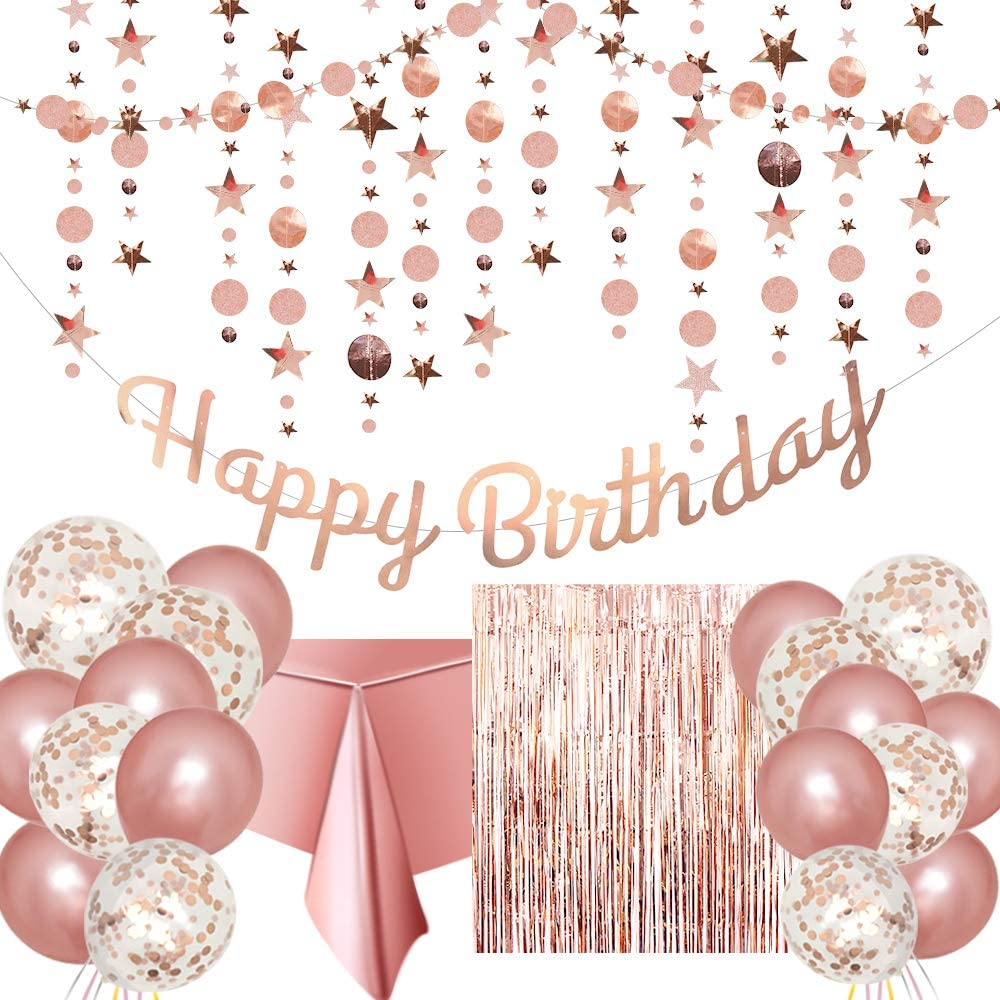Rose Gold Birthday Party Decoration - Happy Birthday Banner, Glitter Circle Dot Garland Streamer, Rose Gold Fringe Curtain, Foil Tablecloth, Rose Gold Balloons, for Women Girl Birthday Party