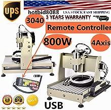 NOPTEG 4 Axis CNC 3040 Router Engraver 800W Desktop Engraving Drilling Milling Machine Drill Wood DIY Artwork Woodworking 3D Cutter + Handwheel Remote Controller