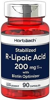 R Lipoic Acid 200mg Stabilized | 90 Capsules | Plus Biotin Optimizer | Non-GMO, Gluten Free | Na-RALA Supplement | by Horb...