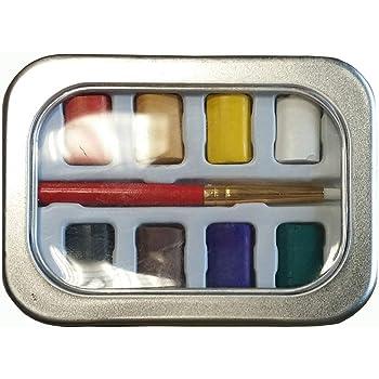 Caja de acuarelas de bolsillo – Estuche de metal con 8 colores y pincel, en formato práctico, ideal para artistas de exteriores.: Amazon.es: Hogar