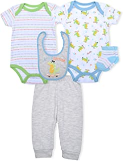 Contact 5PC Baby Boy Clothes Set with 2 Bodysuits, Pants, Socks, and Bib