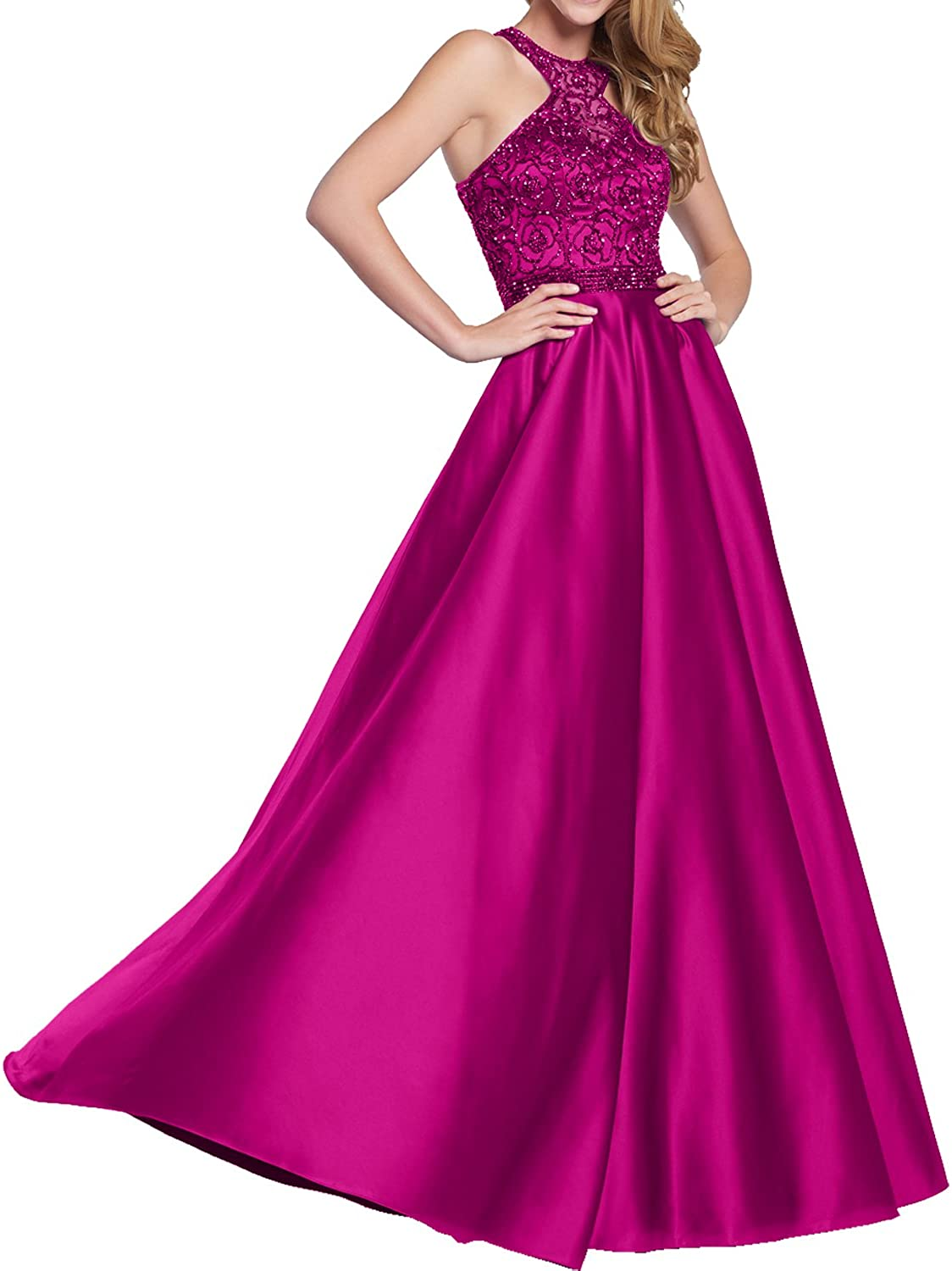 DressyMe Women's Exquisite Beaded Evening Dresses Long Party Gown Halter Racerback
