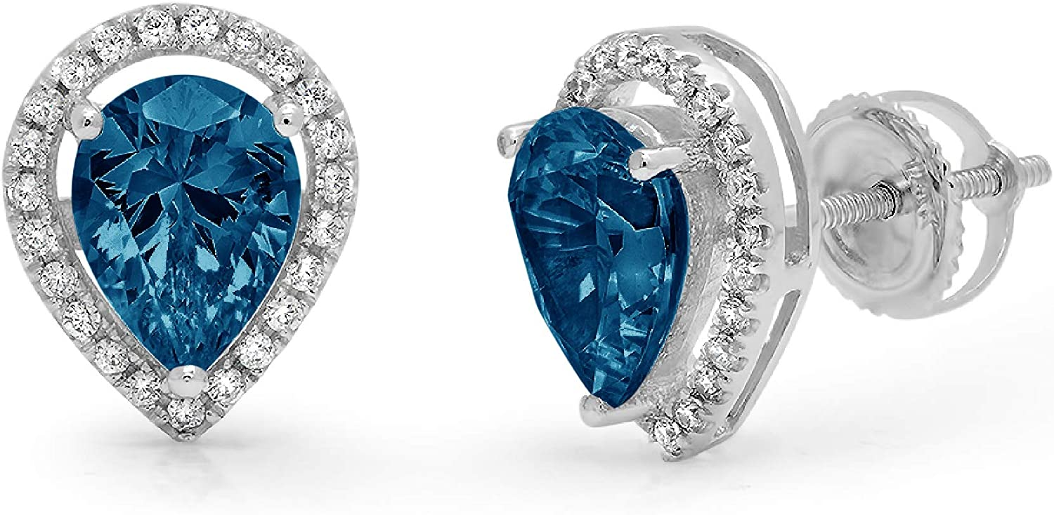 Clara Pucci 2.62 ct Brilliant Pear Round Cut Halo Solitaire VVS1 Flawless Natural London Blue Topaz Gemstone Pair of Solitaire Stud Screw Back Earrings Solid 18K White Gold