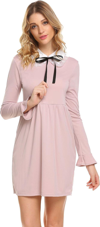 ELESOL Women Peter Pan Collar Long Sleeve Patchwork ALine Party Dress